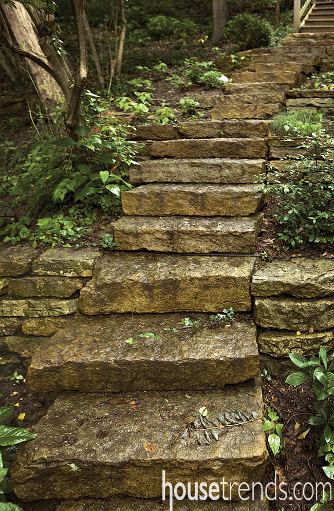 Natural stairs wind through a landscape