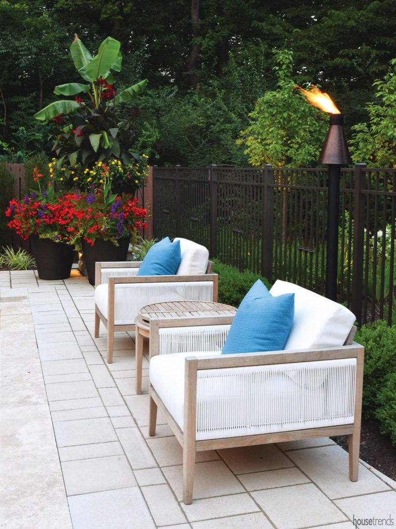 Outdoor furniture dresses up remodeled back yard