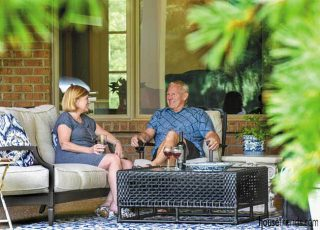 Couple relaxes on a new patio