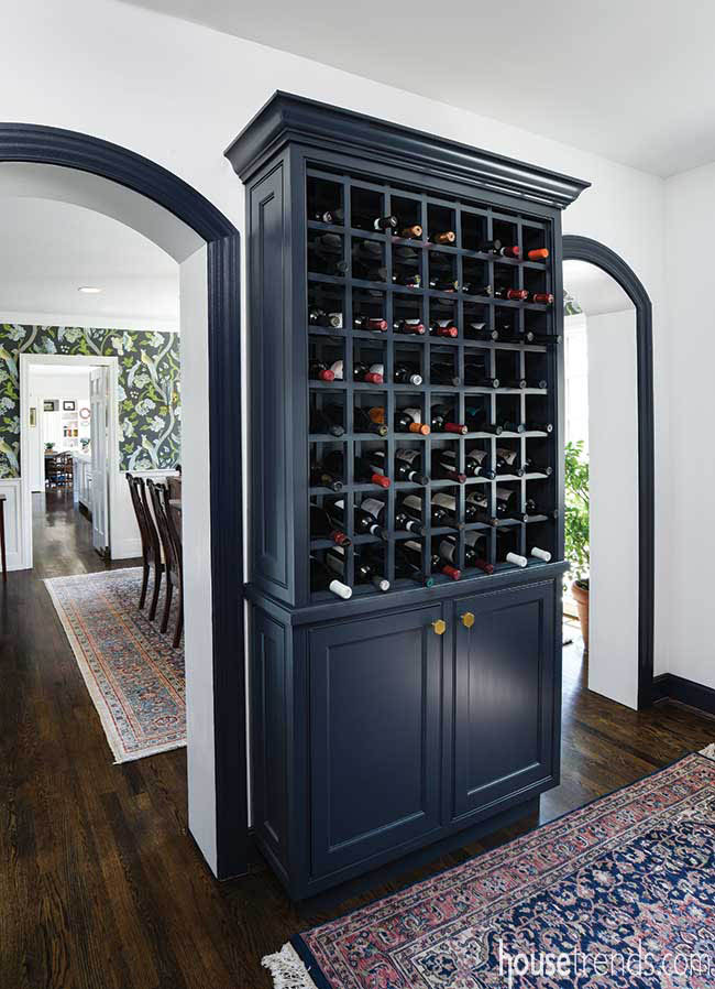 Arched doorways connect entertaining areas