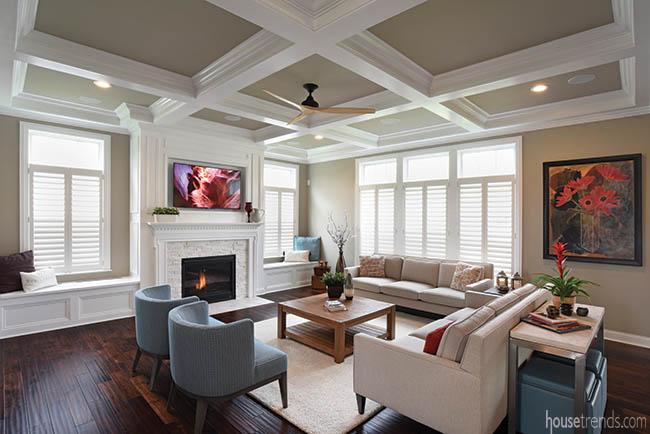 Living room boasts high ceilings