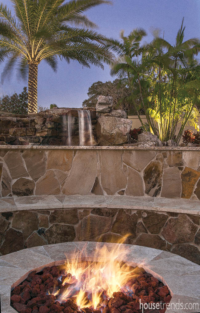 Gorgeous stone constructs a fire pit