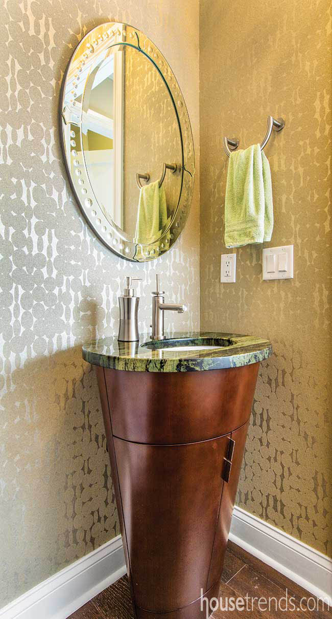 Wooden vanity lends unique touch to a powder room