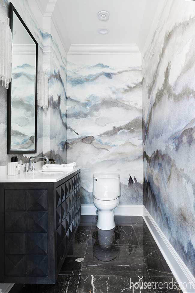 Powder room boasts stunning grasscloth wall treatment