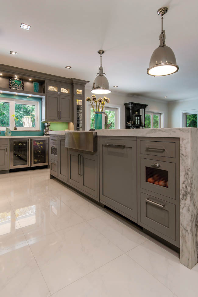 Tile flooring mimics the look of natural stone