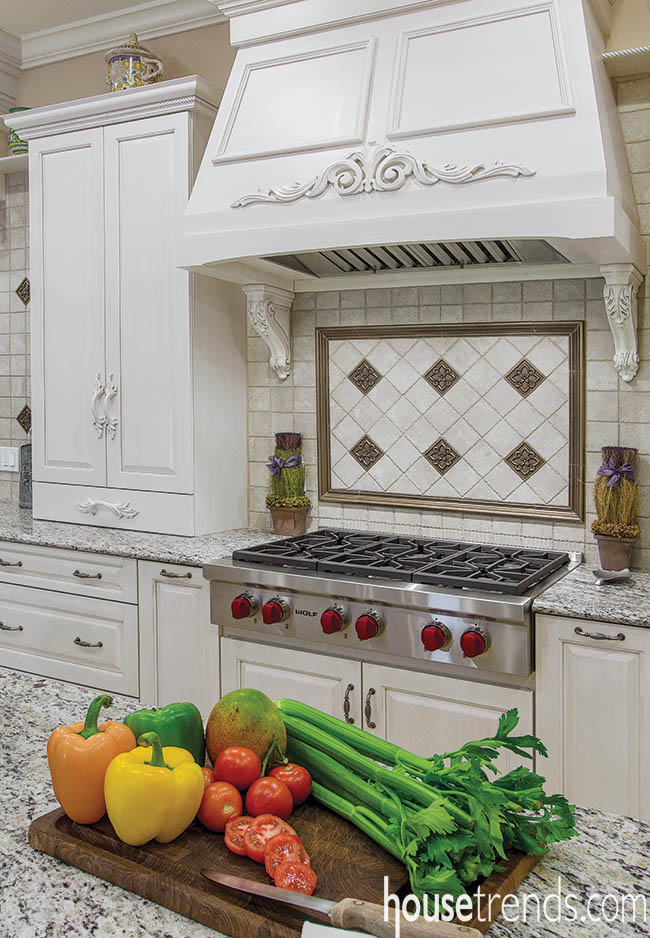 Kitchen cabinetry boasts elegant details