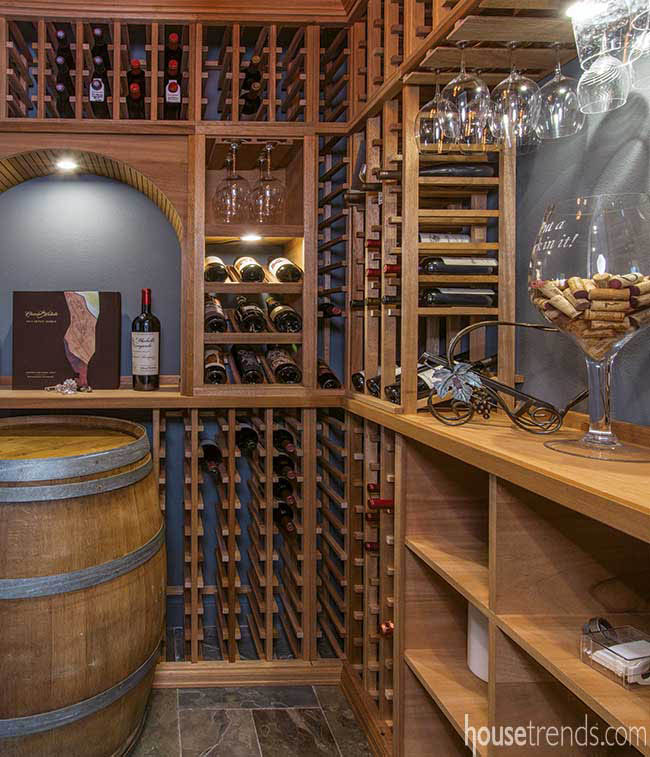 Wine cellar located just off a dining room