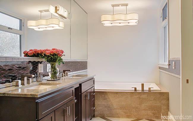 Double vanity offers maximum storage