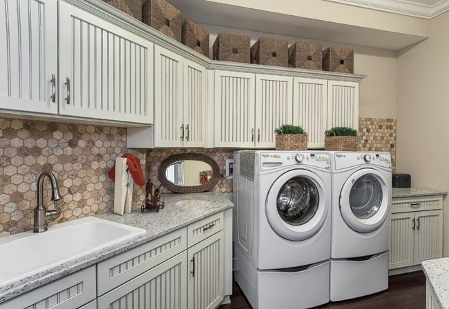 Laundry room decor puts glamour in the chore