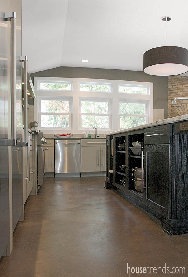 Concrete flooring adds an industrial touch