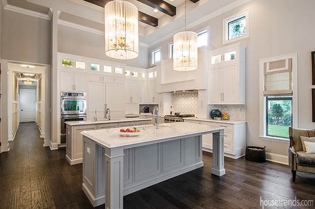 Lighting fixtures add a touch of character to this kitchen