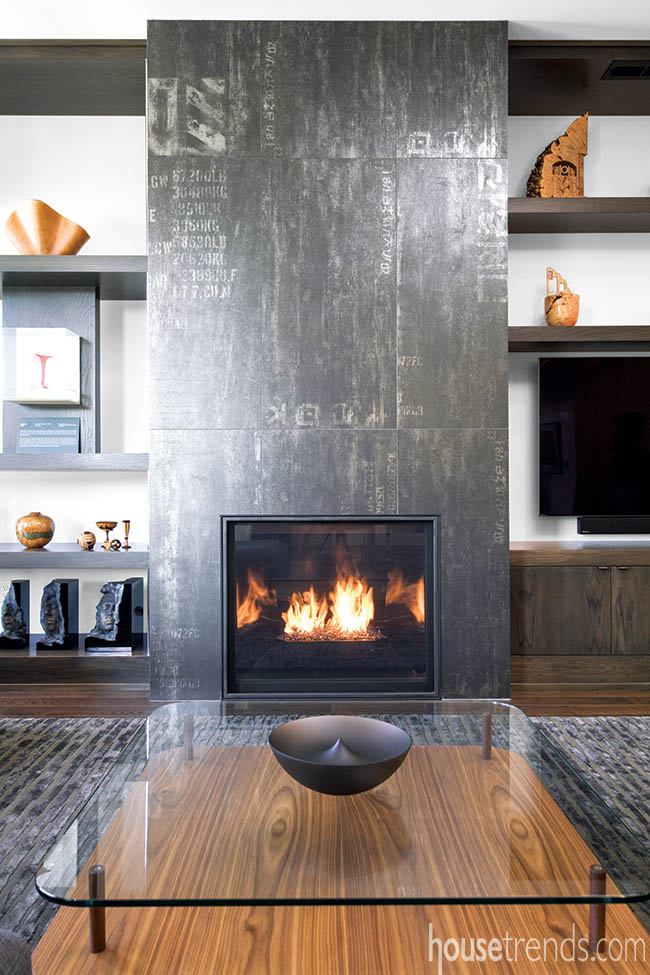 Fireplace tile inspired by graffiti