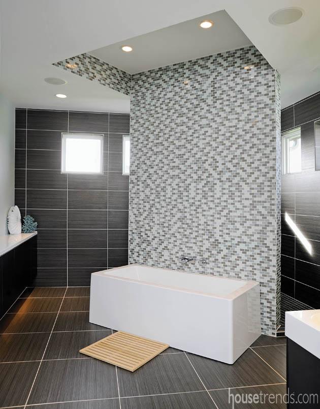 Master bathroom embraces a bold design