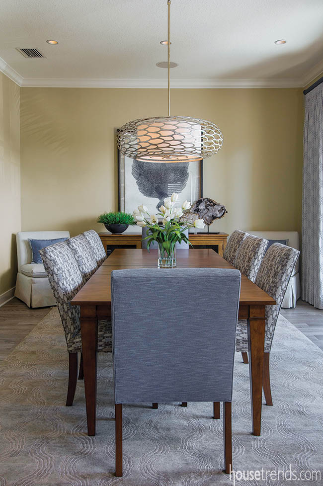 Light fixture dazzles in a dining room