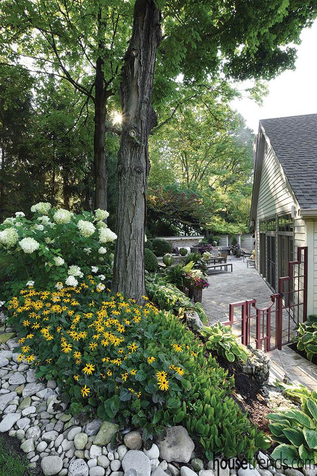 Landscape renovation makes way for a large patio