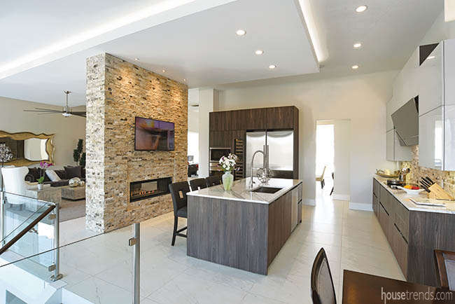 Two-tone cabinetry adds interest to a kitchen