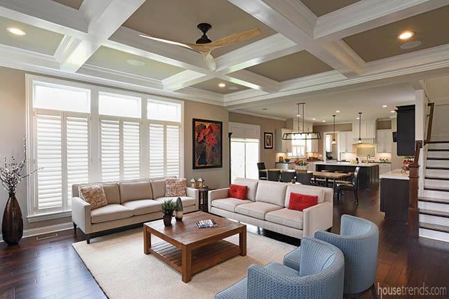 Paint color carries through an open floor plan