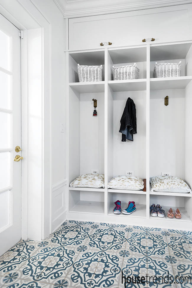 Patterned cement tile in a mudroom