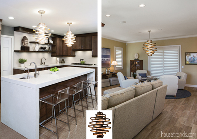 Two homes show off the same light fixture