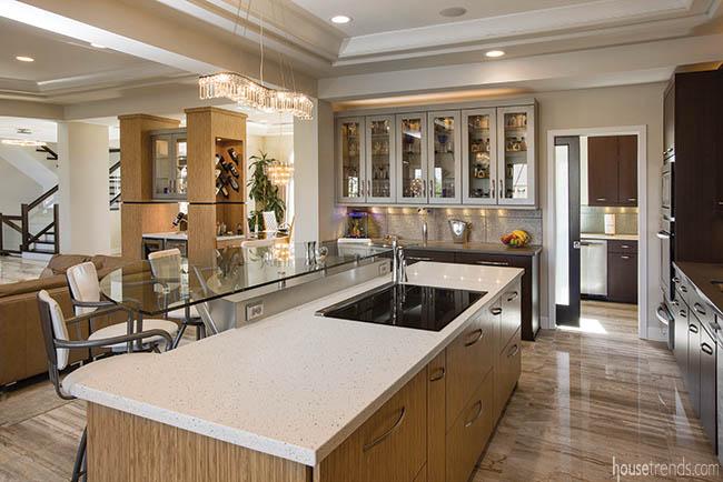Glass bartop completes a kitchen island design