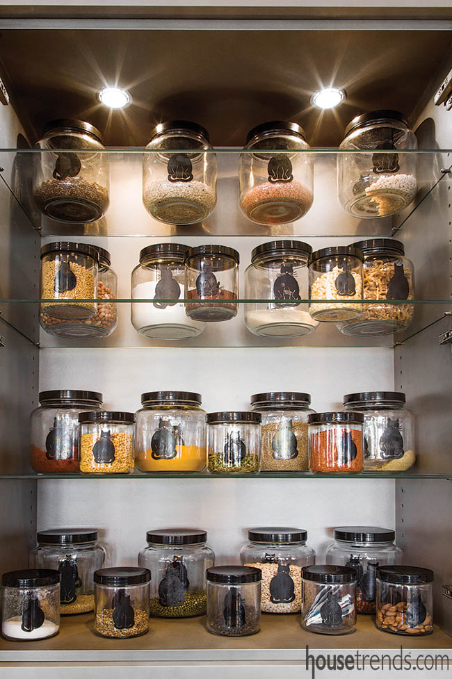 Glass shelves perfectly display jars filled with spices