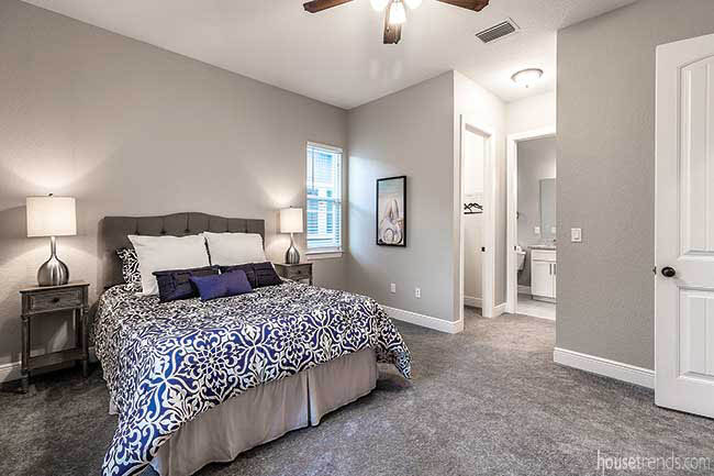Master bedroom with a walk-in closet
