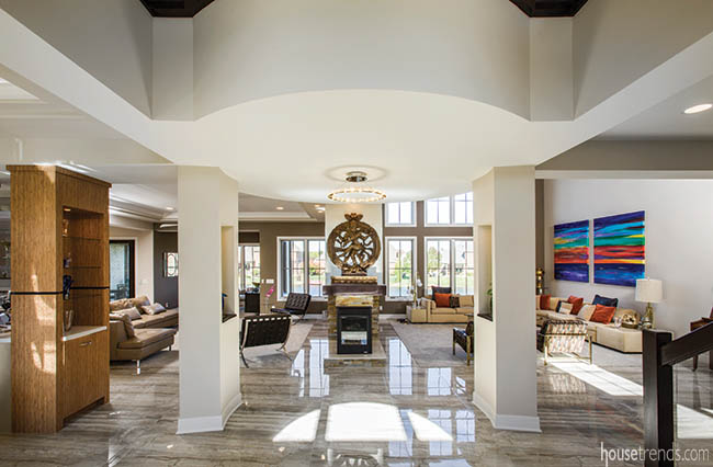 Foyer offers a glimpse of two distinct decorating styles
