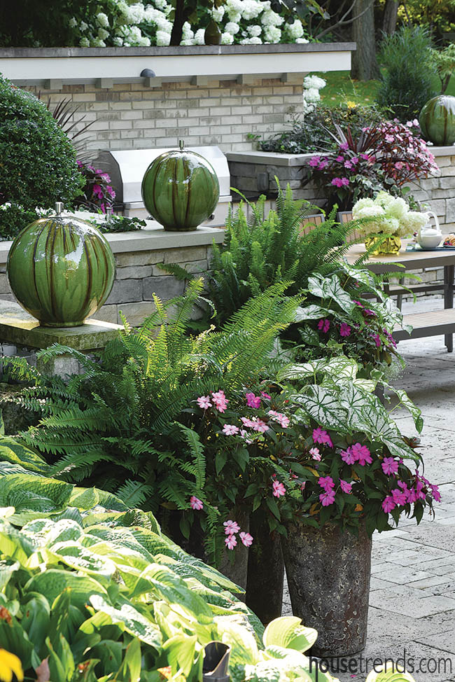Potted planters add color to a patio