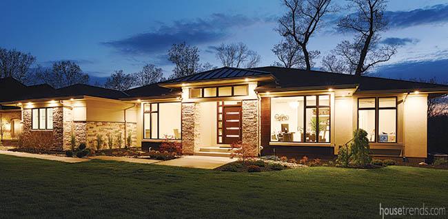 Stone pillars bring warmth to a modern design