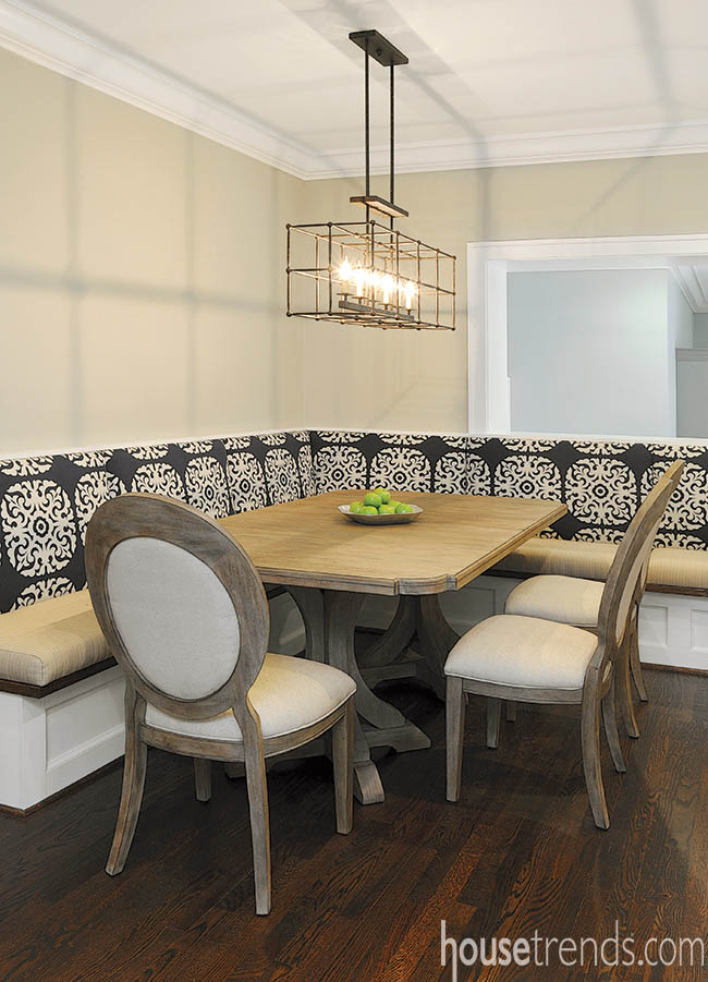 Banquette spices up a dining room design