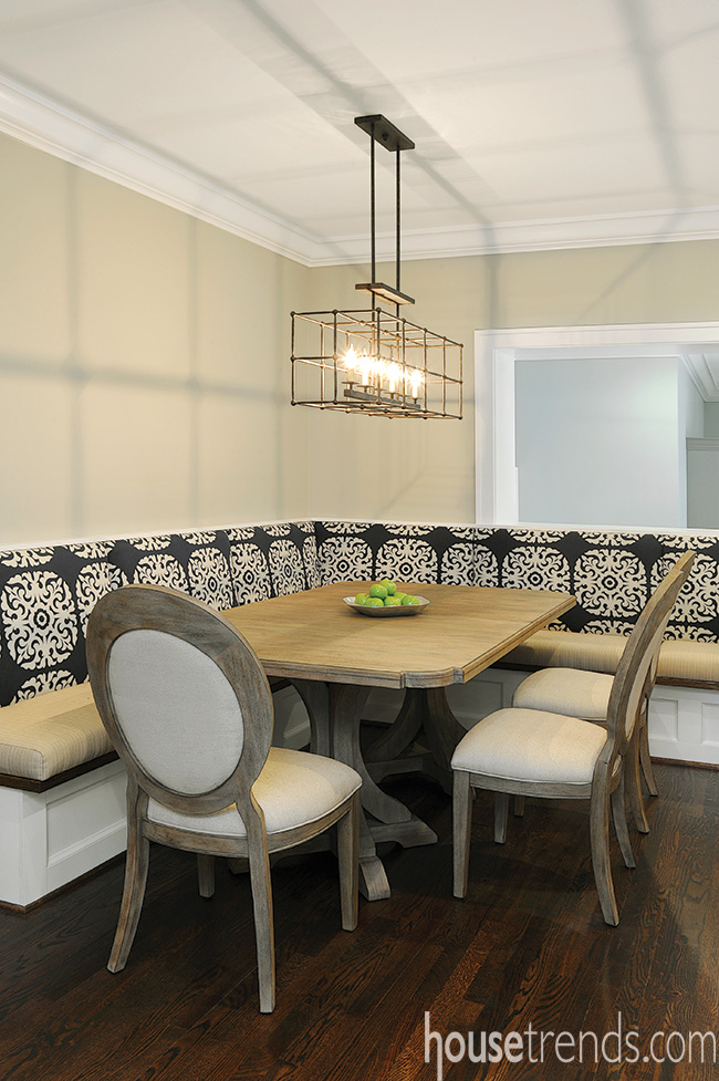 Banquette offers privacy in an open great room design