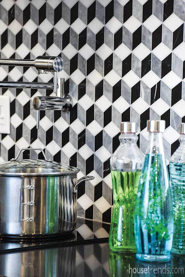 Pot filler blends with a kitchen backsplash