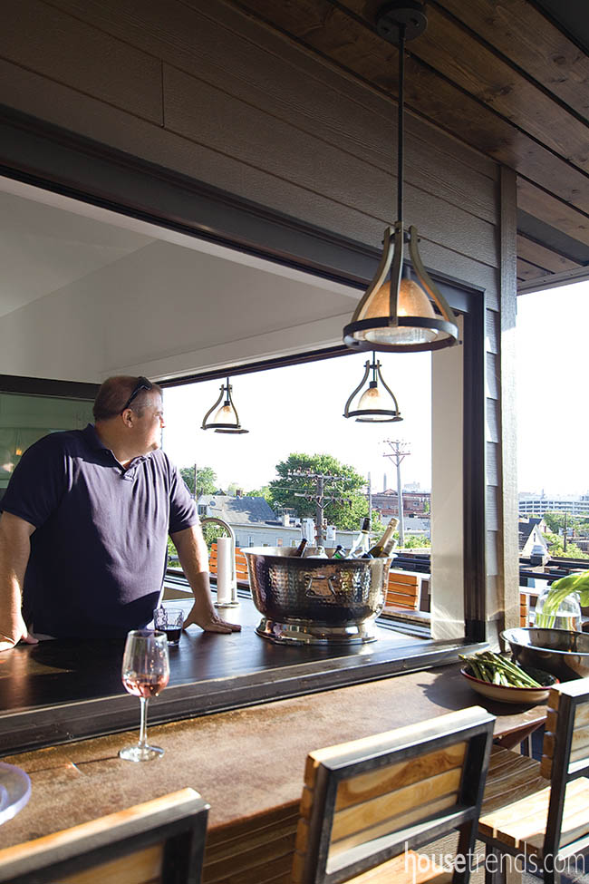 Stunning light fixtures shine on a bar