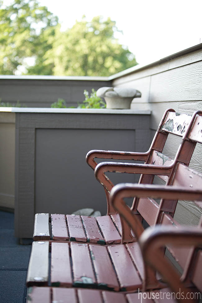 Stadium seats adorn a deck