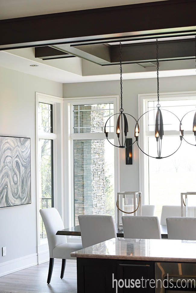 Light fixtures brighten up a dining room design
