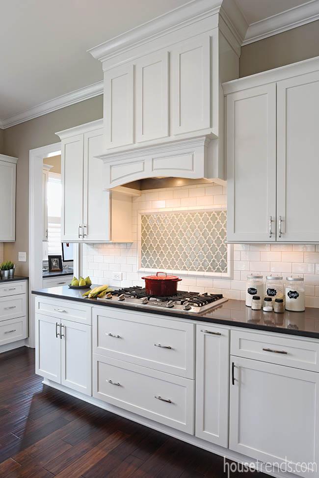 Backsplash adds excitement to a kitchen