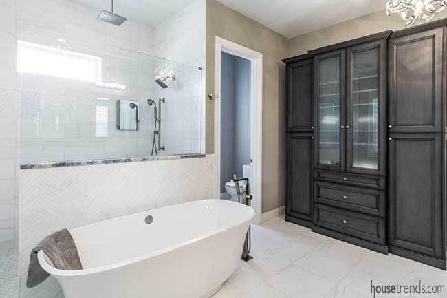 Freestanding tub in a master bathroom