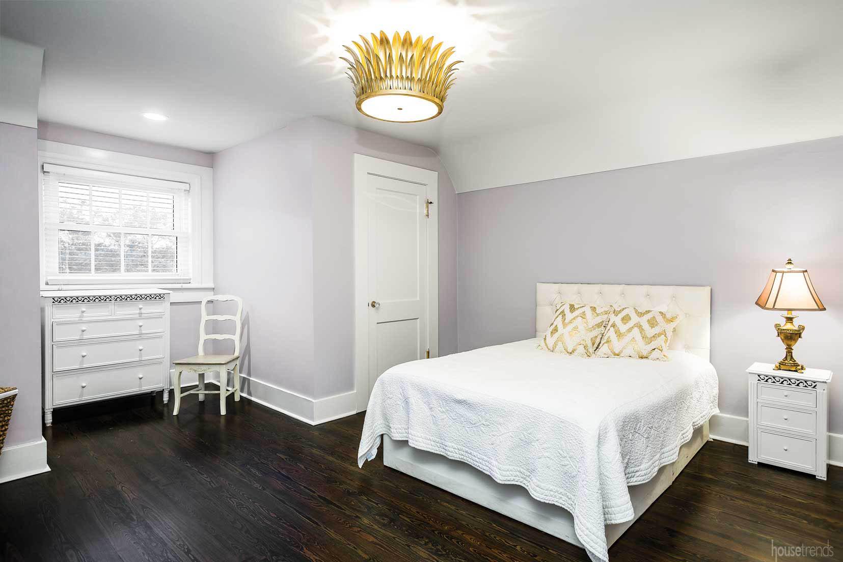 Hardwood floors in a bedroom design