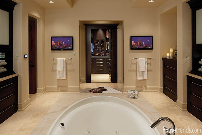 Televisions make an appearance in a master bathroom design