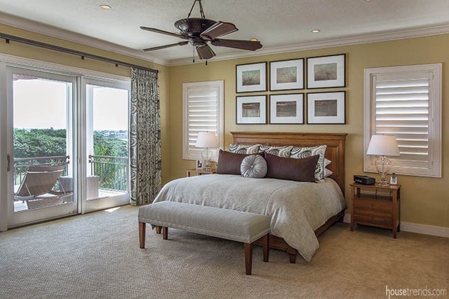 Master bedroom hosts a covered balcony
