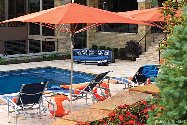 Patio furniture pops in an outdoor living area