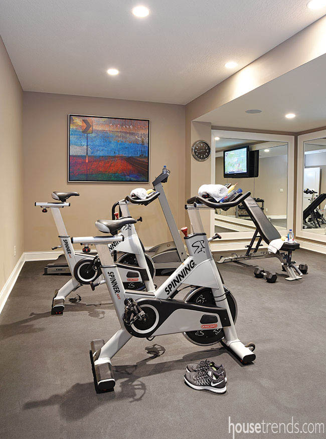 Artwork adds color to a workout room