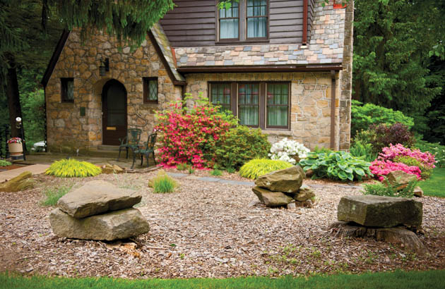 Landscaping stones add character-and a place to sit