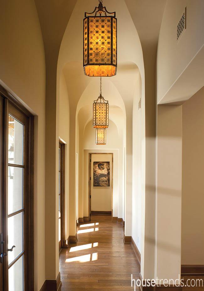 Pendant lights brighten up a hallway