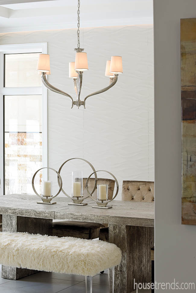 Wall tile adds texture to a formal dining room