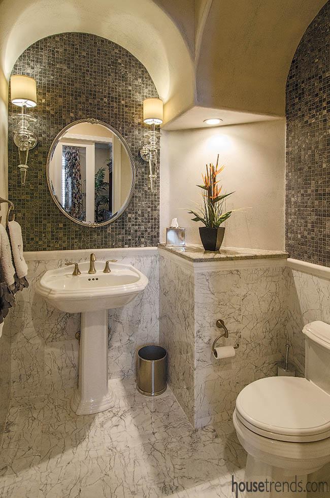 Beautiful bathroom design makes good use of marble