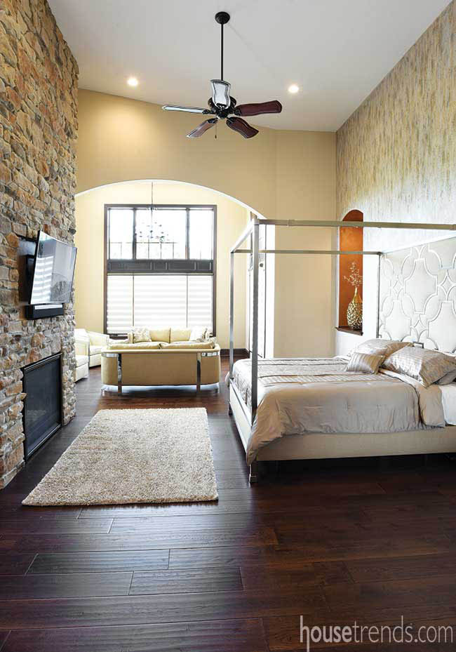 Gas fireplace in a master bedroom