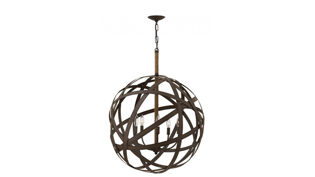 Chandelier offers an industrial look