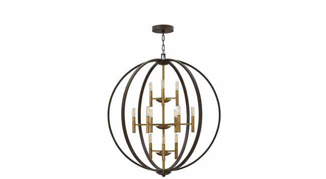 Chandelier boasts a two tone finish