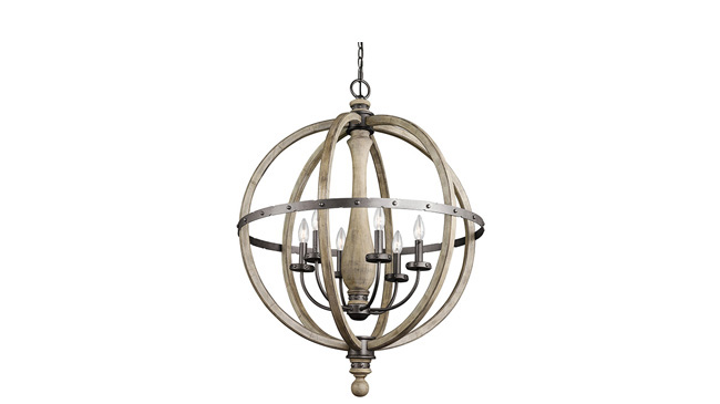 Pendant light made of distressed wood and iron